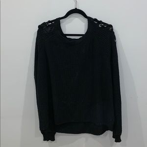 black sweater with shoulder cut outs